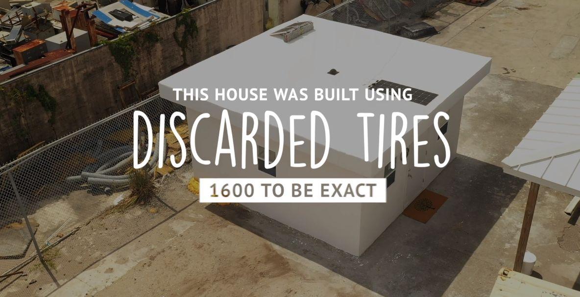 Des maisons construites avec des pneus broyés