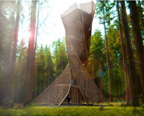 Architube: Houten uitkijktoren over Noord-Italiaans bos
