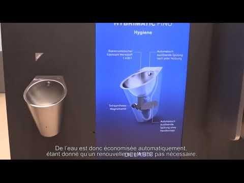 Urinoir Inox hybride HYBRIMATIC FINO, la vraie alternative écologique aux urinoirs sans eau