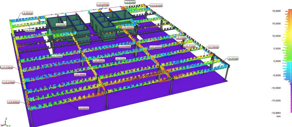 Voor een gebouw in Brussel voerde N2 Kwadraat een 3D-scan uit in functie van de controle van de metaalconstructie