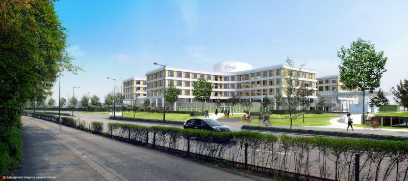 La forme du bâtiment est issue de la rationalisation poussée des circulations. L'hôpital est conçu pour optimaliser autant que possible son fonctionnement.