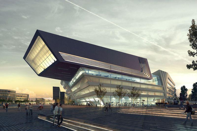 Het LLC beslaat 42 000 m² en heeft de vorm van een kubus met zowel hellende als verticale gevels.