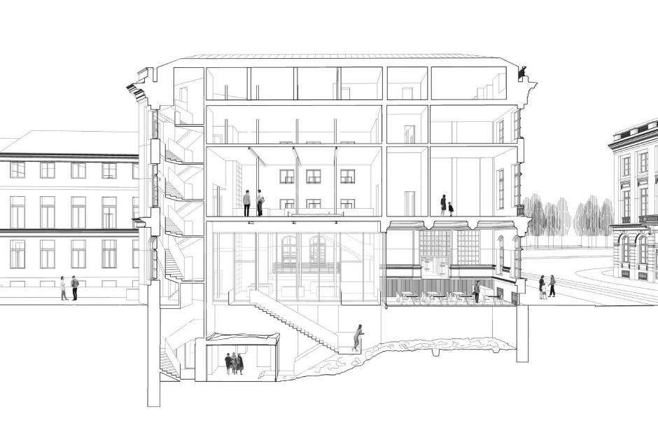 Dwarsdoorsnede van de circulatie tussen de verschillende functies van het gebouw vanaf de nieuwe ingang.