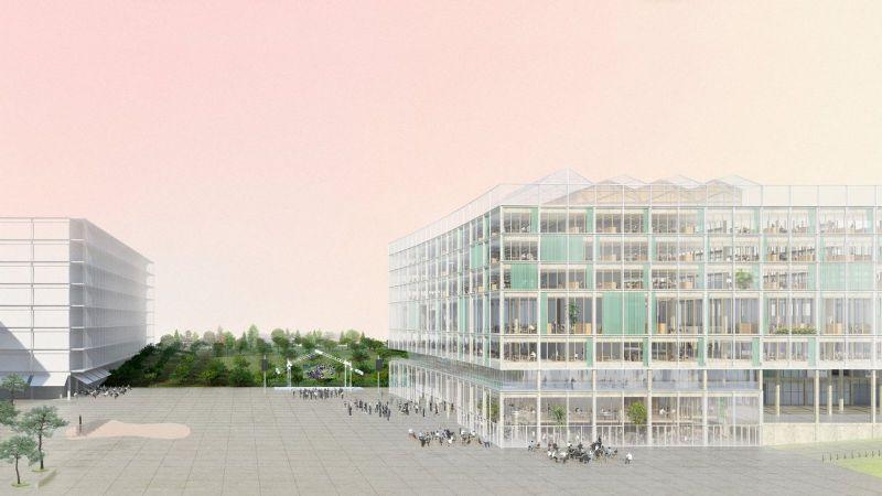 Links zie je het nieuwe VRT-gebouw.