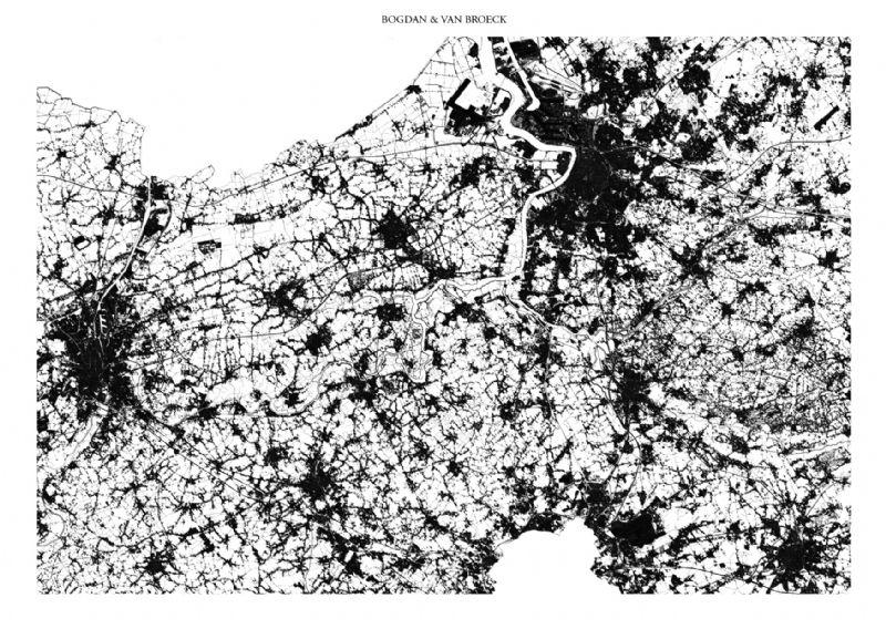 Kaart van de bebouwde oppervlakte in Vlaanderen anno 2012.