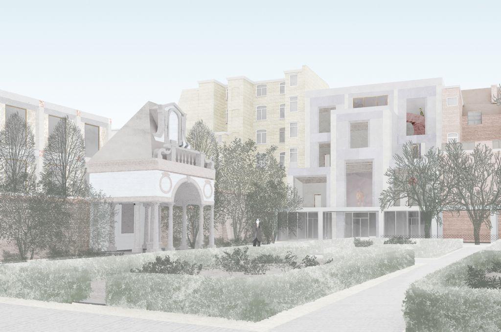 Aan Hopland bouwt Bovenbouw Architectuur een nieuw gebouw over 4 bouwlagen. Het gebouw dat een helder Palladiaans schema volgt, biedt plaats aan het onthaal en verschillende tentoonstellingsruimtes.