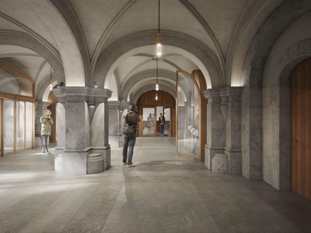 De historische hoofdentree wordt in ere hersteld. Met een verwijzing naar de (neo-)renaissance wordt deze ingericht als een robuuste overgang tussen gebouw en stad.