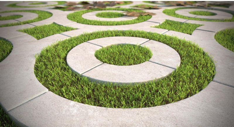 Een evenwicht tussen beton en gras zorgt voor een indrukwekkend lijnenspel.