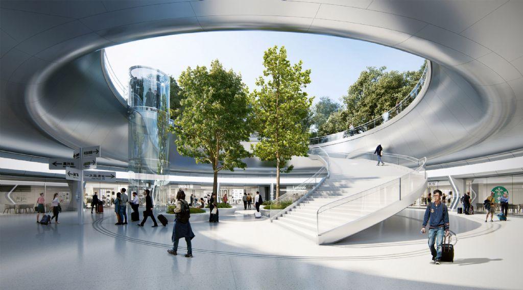 Verzonken binnenplaatsen verbinden de commerciële ruimtes met het parklandschap erboven
