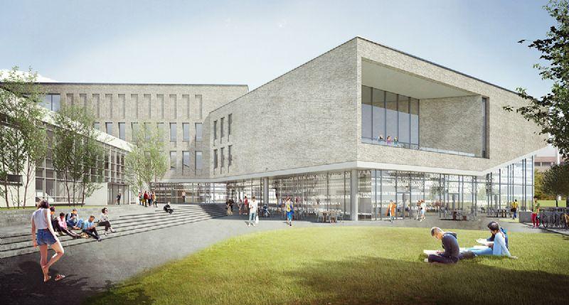 Het gebouw positioneert zich onder een schuine hoek ten opzichte van het bestaande campusgebouw met auditoria.
