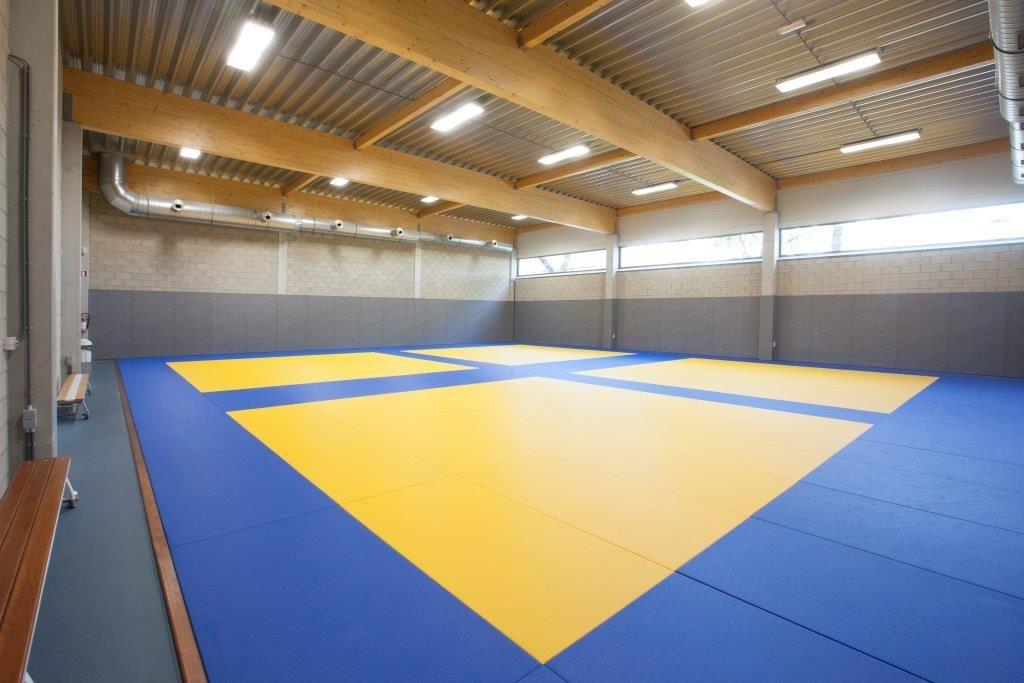 Aansluitend op de grote sporthal zijn er drie kleinere, polyvalente zalen voor vechtsporten en dans/theater opgetrokken. (Beeld: Philippe Van Gelooven)
