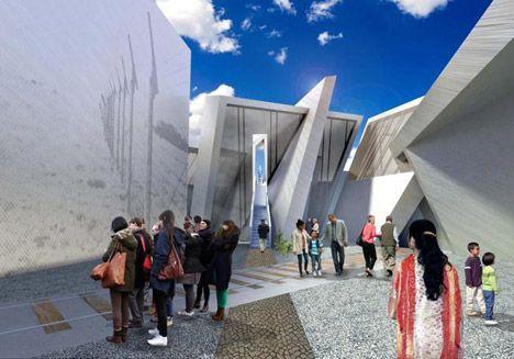 Een spoorweg doorkruist het monument, net zoals een spoorweg Auschwitz doorkruiste.