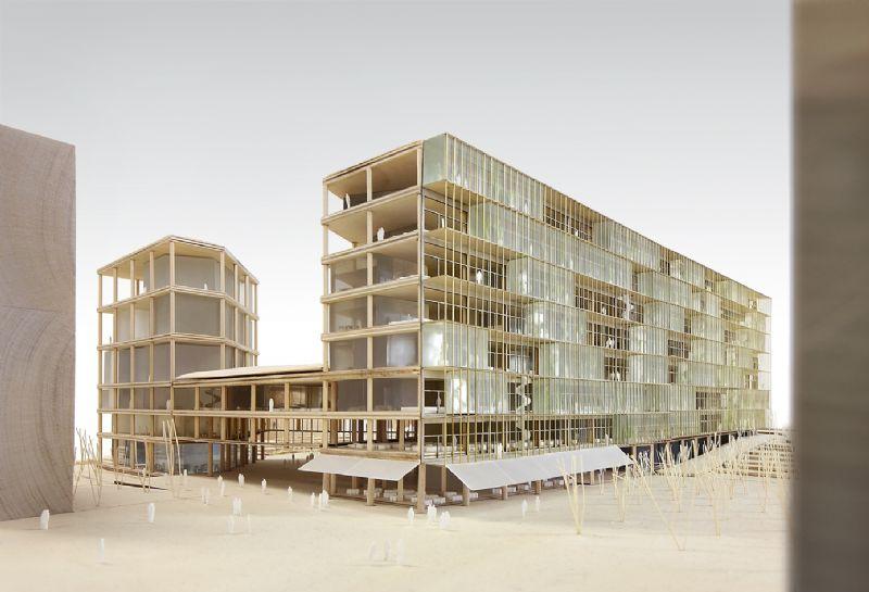 Maquette van het nieuwe VRT-gebouw.
