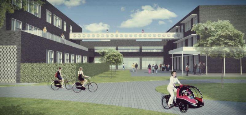 De open constructie met verbindingsbrug toont het technische karakter van de school.
