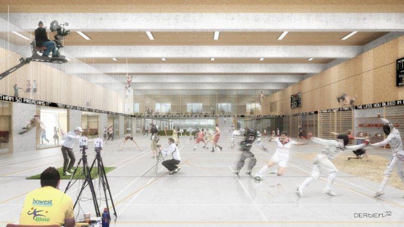 Visualisatie van de moderne topsporthal in Brugge die Dertien12 ontwierp, ook wel de 'beweeghal van de toekomst' genoemd.
