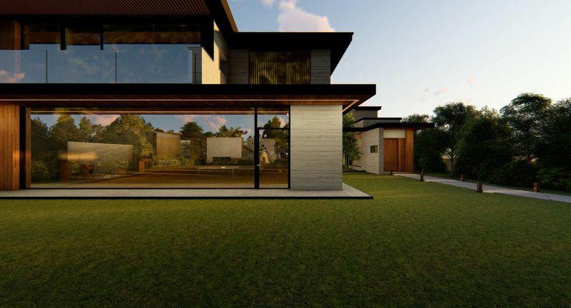 Strakke lijnen met veel glas en hout in huis van  Parasite