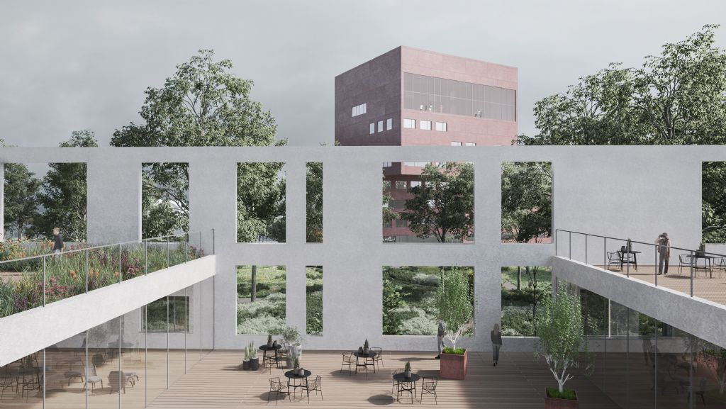 Inpandig terras van oncologieafdeling, met zicht op park en revalidatiegebouw