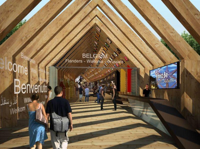 De ingang van het paviljoen, door de schuurachtige structuur.