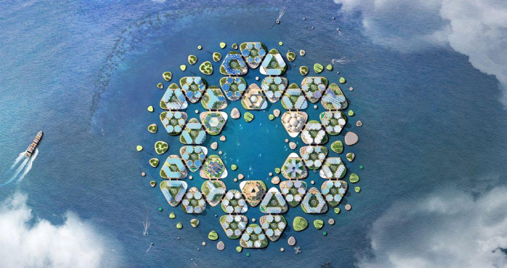 Oceanix City bestaat uit zeshoekige modules die kunnen opgebouwd worden tot een dorp voor 10.000 inwoners