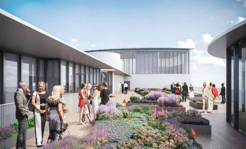 La lecture patrimoniale des lieux se veut audacieuse et riche. Sur le sommet de l'édifice, le jardin initialement prévu et dessiné par René Pechère sera recréé.