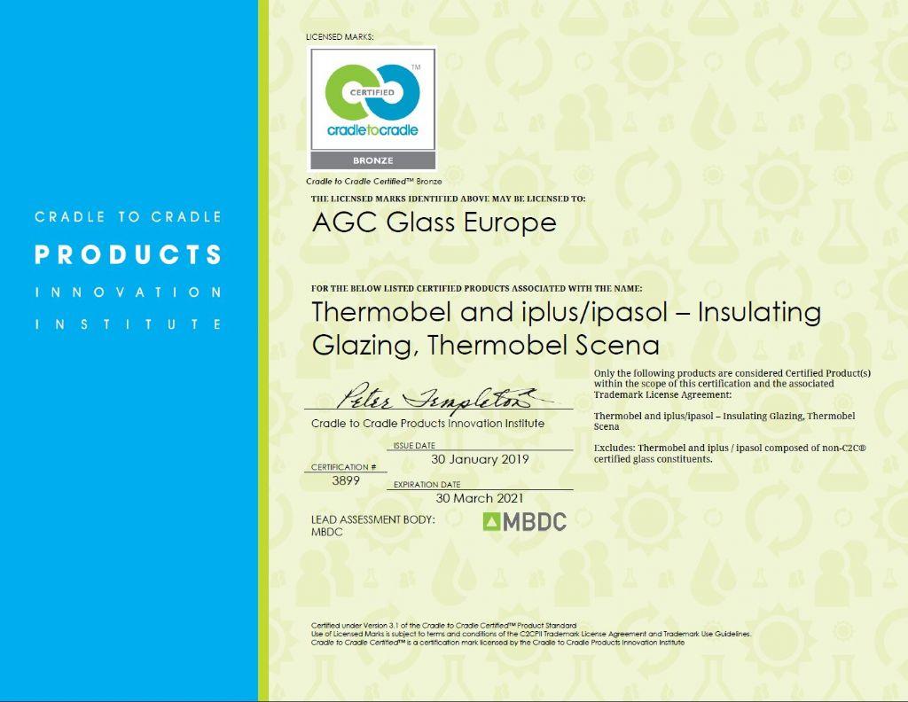 Cradle to Cradle-certificering voor de glasproducten van AGC verlengd tot 2021