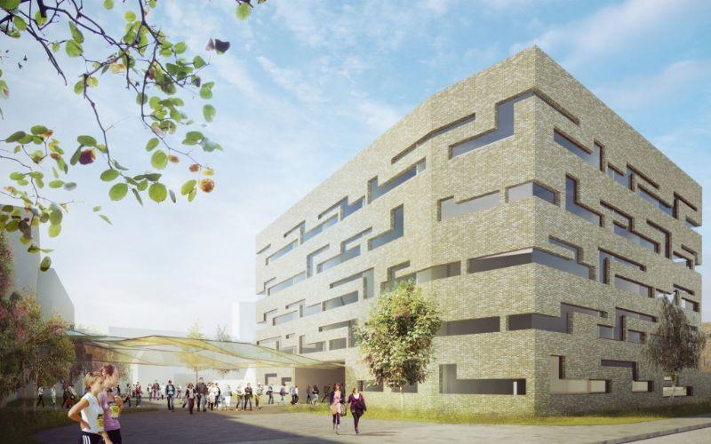 Het ontwerp bevat een eigentijds onderwijsgebouw met religieuze roots.