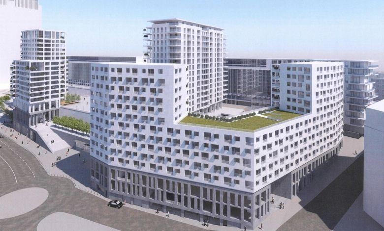 Een simulatiebeeld van het nieuwe project, met linksonder de Pachecolaan die via trappen verbonden wordt met de Congreskolom.
