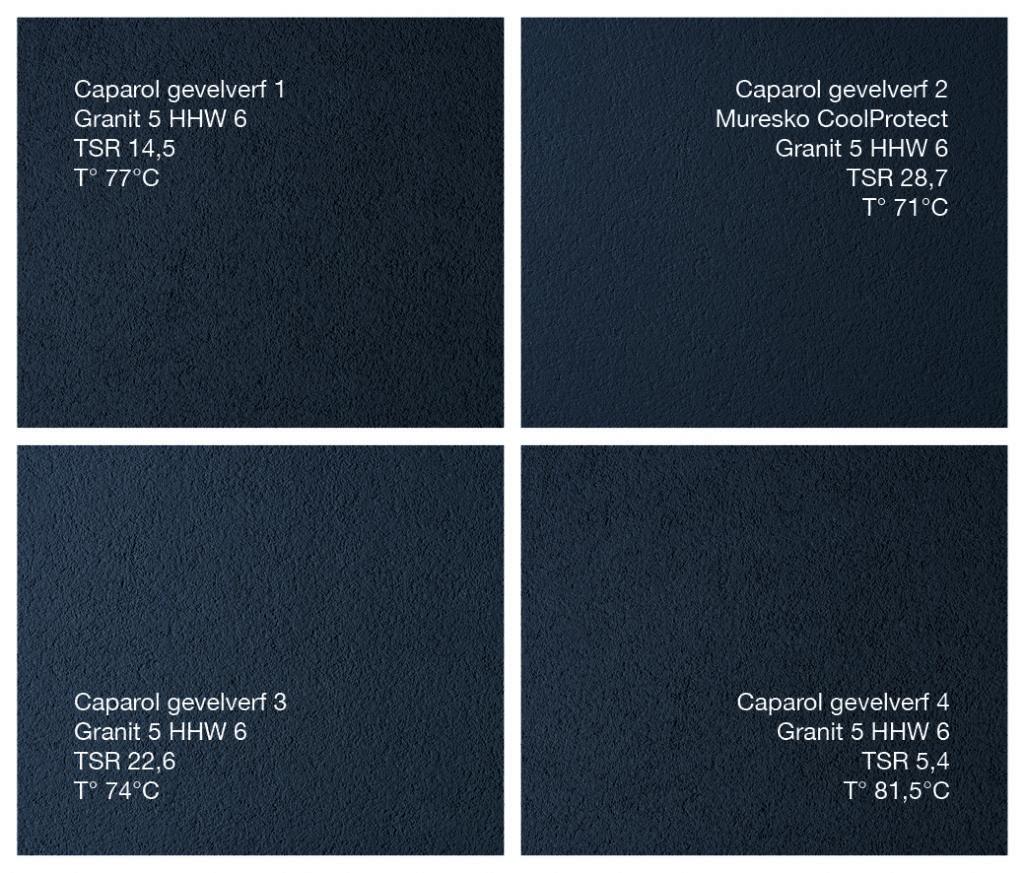 Het overzicht van de Capatect -afwerkmogelijkheden in functie van o.a. TSR -en helderheidswaarde.