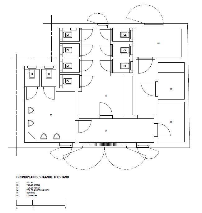 Het grondplan van de oude paviljoenen.