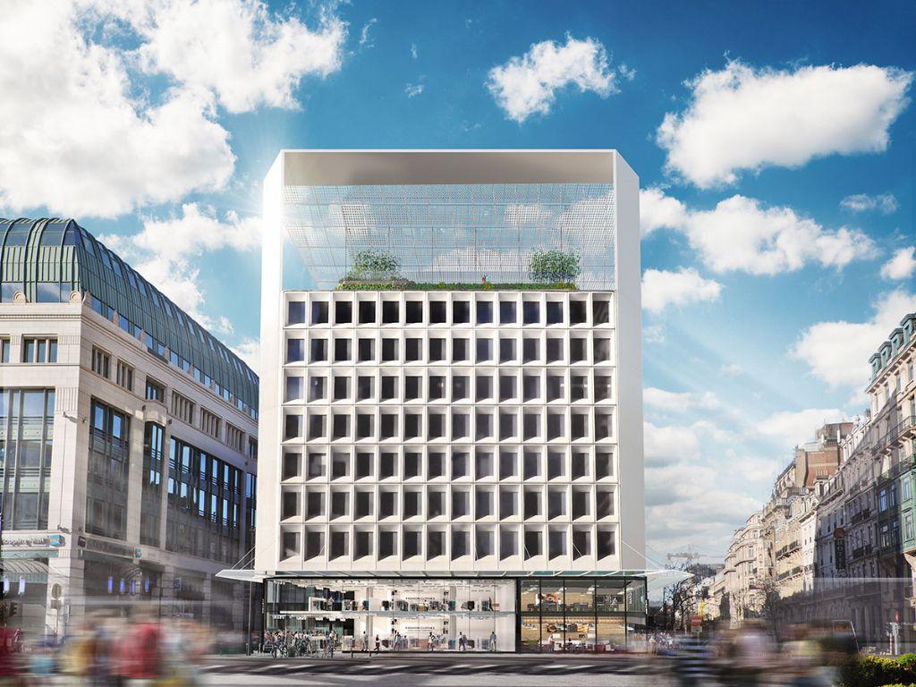 Brussels kantoorgebouw krijgt monumentale fotovoltaïsche structuur