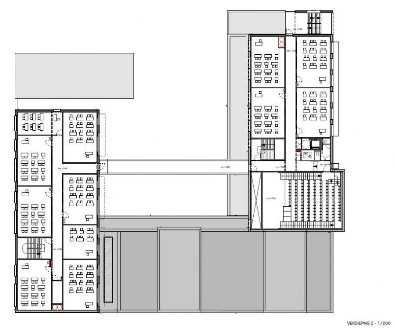 Grondplan van de tweede verdieping.