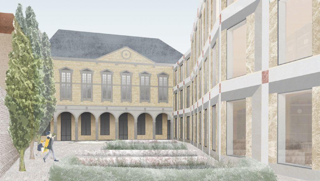De geknikte gevel van het Rubenianum omarmt de tuin en sluit goed aan op het Kolveniershof.
