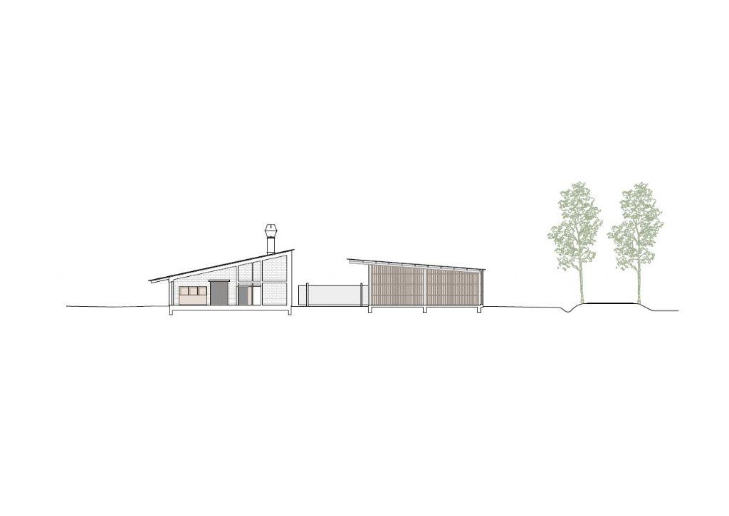Twee gebouwen die scharnieren ten opzichte van elkaar onder een elegant, hellend dak