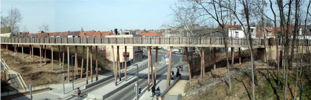 Lauréate dans la catégorie 'Réalisation hors Wallonie d'un architecte wallon' : Chantal Vincent (Dessin et Construction) pour la Promenade Verte à Bruxelles