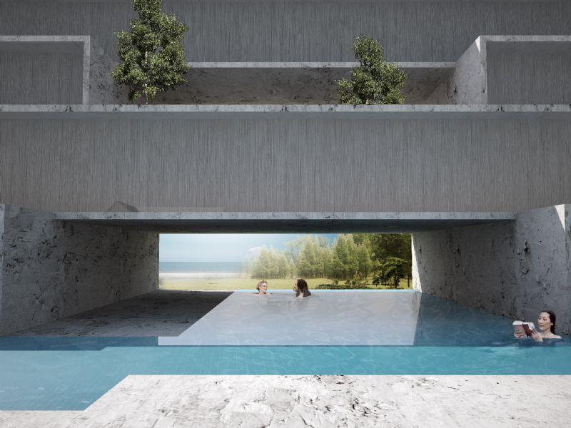 Een buiten- en binnenzwembad laten een relaxte sfeer toe