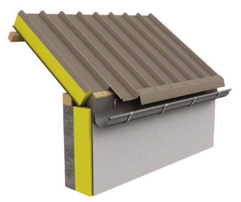 Bevestiging van de dakgoot op een randkeper en niet op de bovenste bekleding.