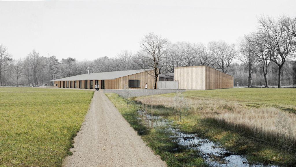 Met een overkragend dak op verscheidene plaatsen creëert Studio Thys Vermeulen een overdekt terras of  een overdekte werkplaats