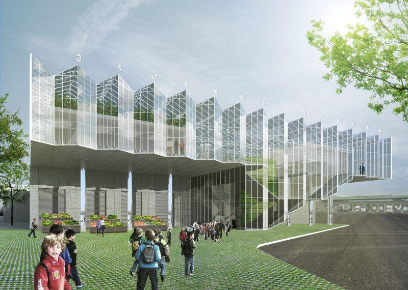 META architectuurbureau en van Bergen Kolpa Architecten bouwen dakserre 'het Groente Paleis'