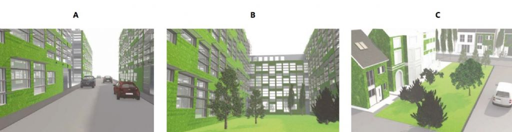 Toepassing van groene gevels in 'straatcanyons' (A), binnenplaatsen (B) en stadspleinen (C).