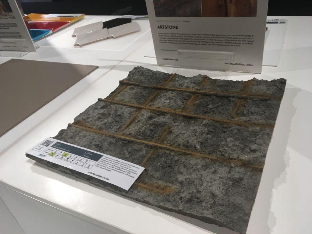 Het synthetisch materiaal Artstone bestaat uit glasvezel, ecologische hars en stof van natuursteen.