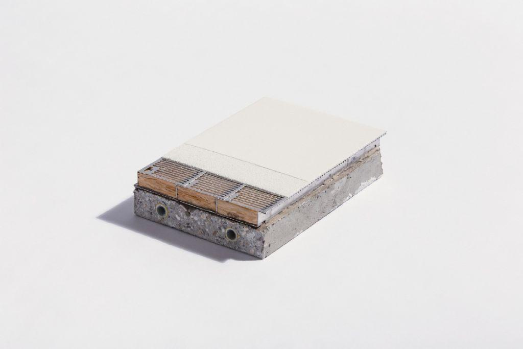 Het hoog geluidsabsorberend en tegelijk thermisch geleidend BASWA Core systeem van Sonogamma