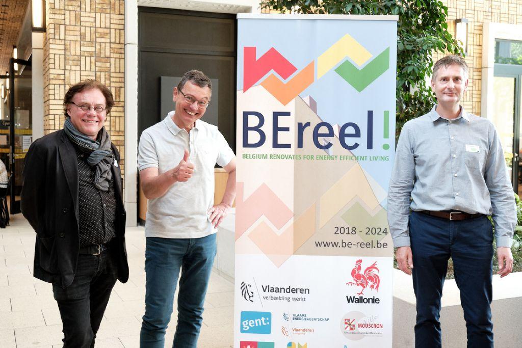 De gauche à droite : Eddy Deruwe (coordinateur LIFE BE REEL!), Angelo Salsi (Head of the LIFE and CIP Eco-innovation Unit - EASME) et Roel Vermeiren (Project Leader à la Vlaams Energieagentschap).