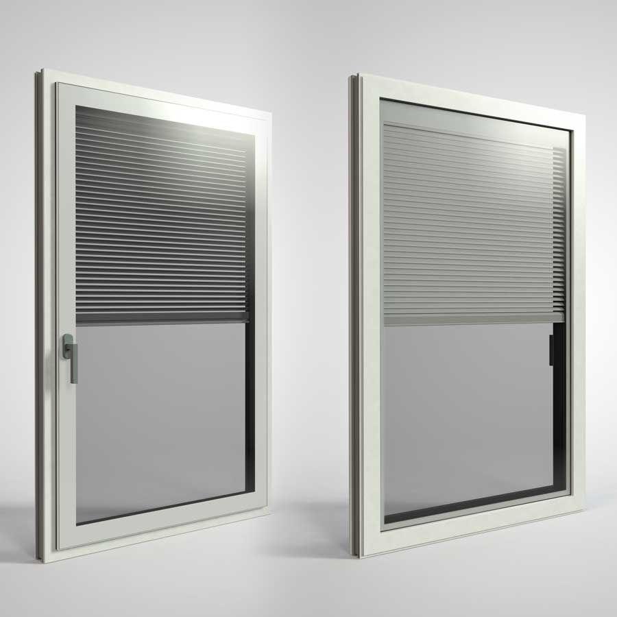 Binnen- en buitenaanzicht van het nieuwe compleet glazen raam FIN-Project Twin-line Nova Cristal.
