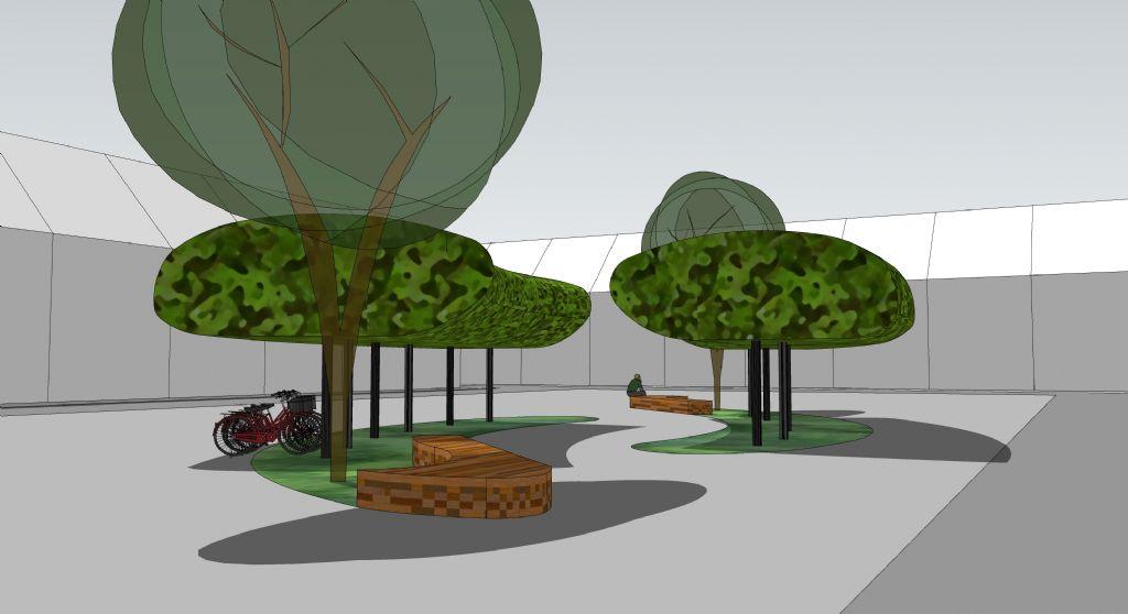 Met BIKE-UP worden de visuele relaties op een plein niet verstoord en kan het gelijktijdig van groen voorzien worden.