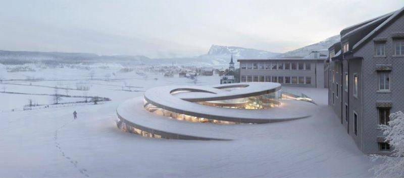 De spiraalvormige extensie van Audemars Piguets hoofdbureau.