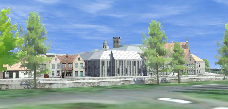 WZC Ter Potterie in Brugge, een van de geothermieprojecten die in het kader van Smart Geotherm gemonitord wordt. (Visualisatie: BOECKX. architecture & engineering)