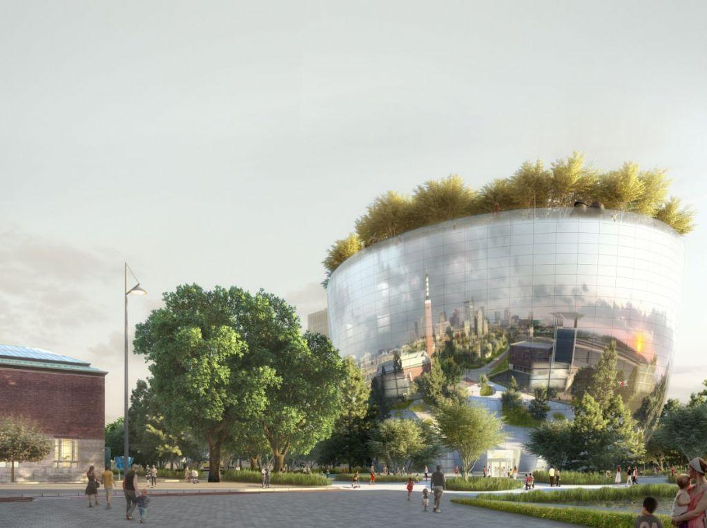 Compleet bos op dak Rotterdams museum