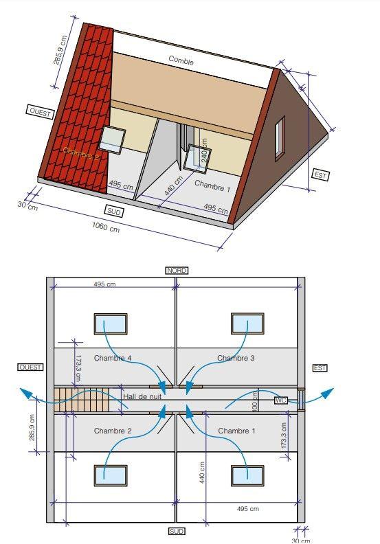 Fig. 1 :  Représentations du logement utilisé comme modèle.
