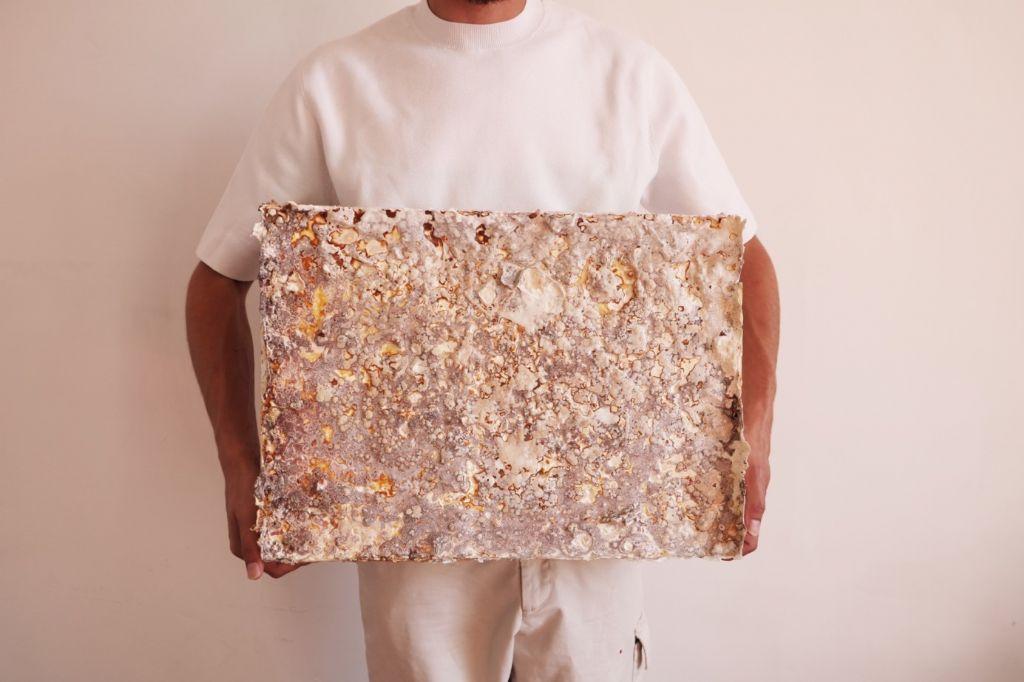 Een isolatiepaneel gemaakt van mycelium dat groeide op een substraat van 300 wegwerpkoffiekopjes en beukenhoutchips.