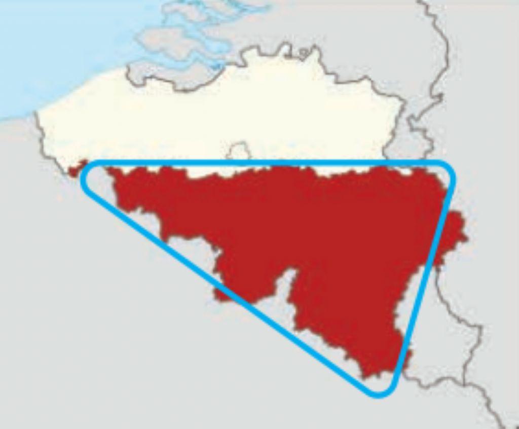 La forme du logo, directement inspirée par celle de la Wallonie.